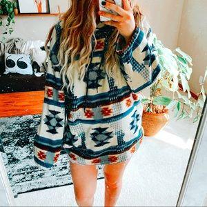 Oversized Aztec boho fleece hippie hoodie p1